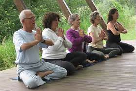 older people doing yoga