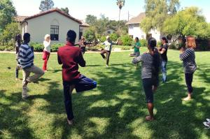 Patricia Teaching Yoga to Mesa Students 2014
